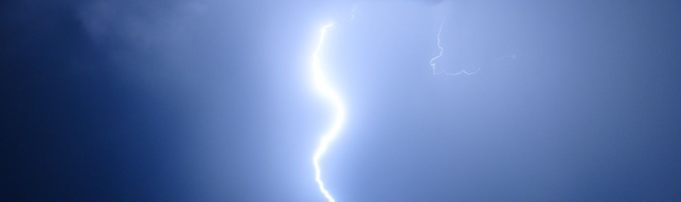 A lightning strike in a rural area